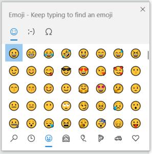 clavier d'émojis dans Windows 10