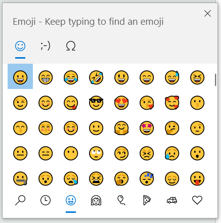clavier des émojis dans Windows 10