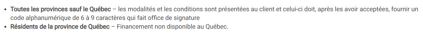 Dell n'offre pas la possibilité de financer les achats des résidants du Québec